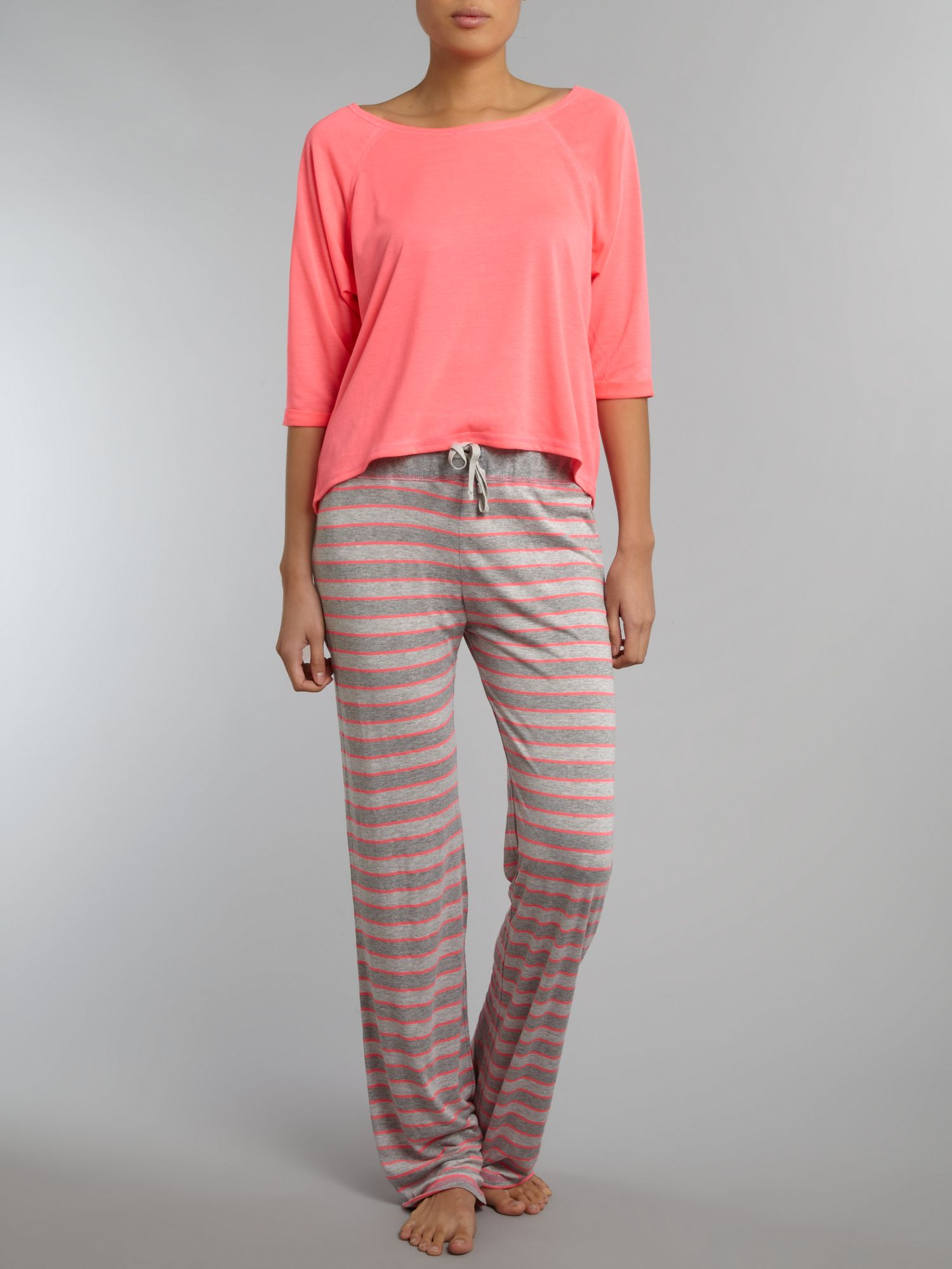 Stripe pant and plain vest pj set