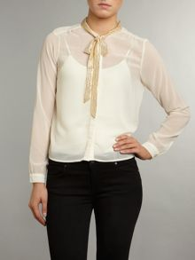 Glitter pussy bow blouse