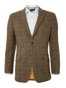 Harris Tweed Hamish herringbone blue slim fit jacket