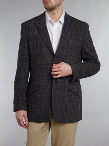 Harris Tweed Fergus overcheck slim fit blazer