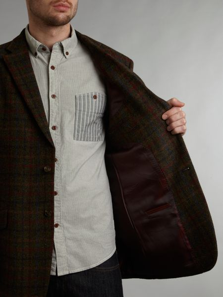 Harris Tweed Angus large overcheck slim fit blazer