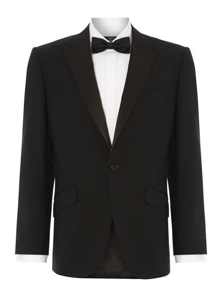 New & Lingwood Benson black evening jacket with satin peak lapel