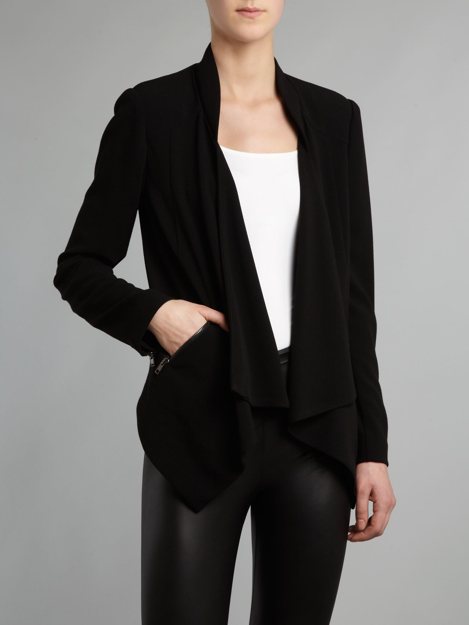 Waterfall zip sleeve blazer