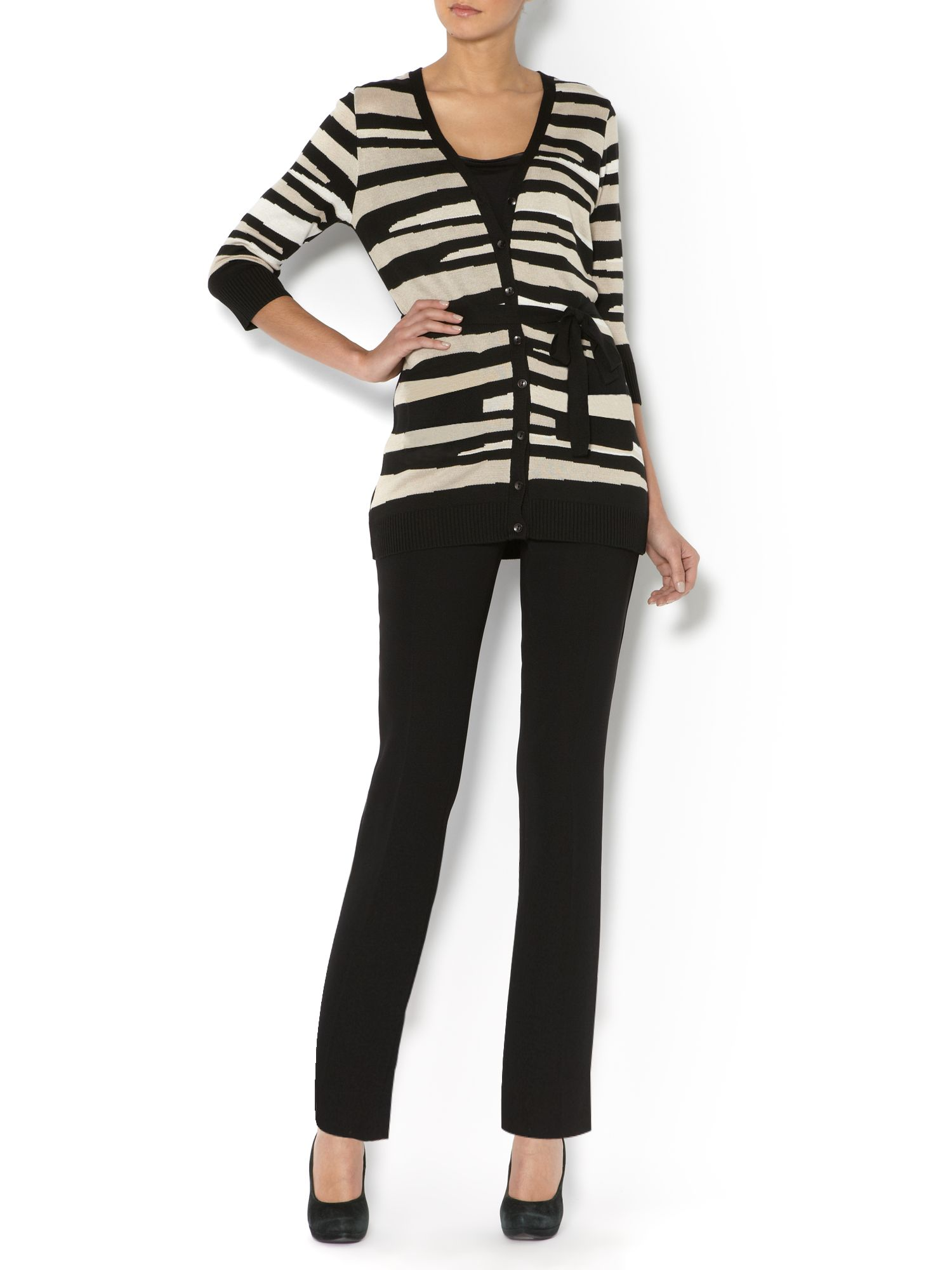Longline textured stripe cardigan