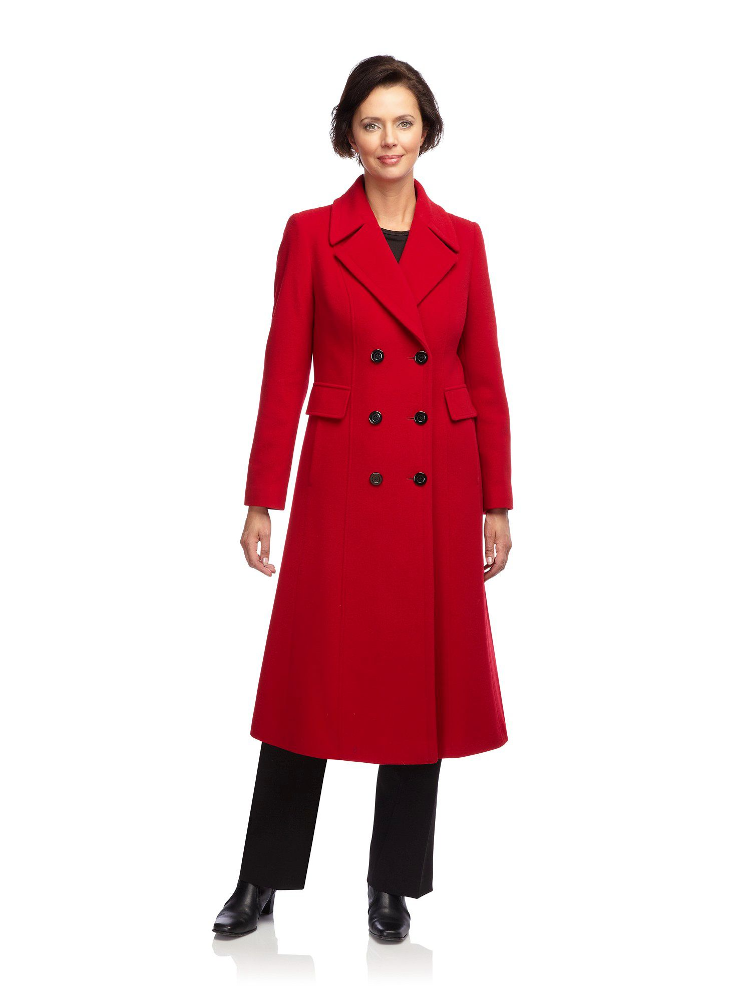 Classic long red coat