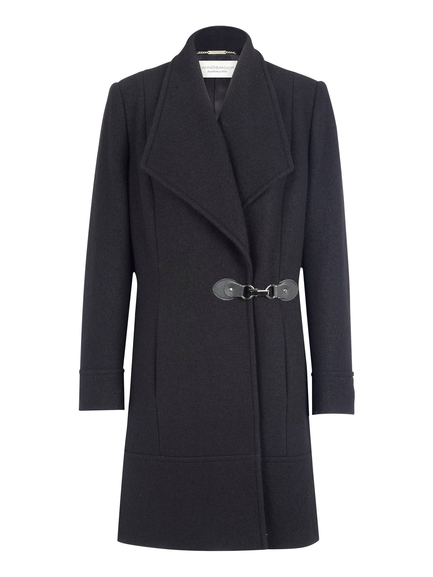 Black wing collar coat