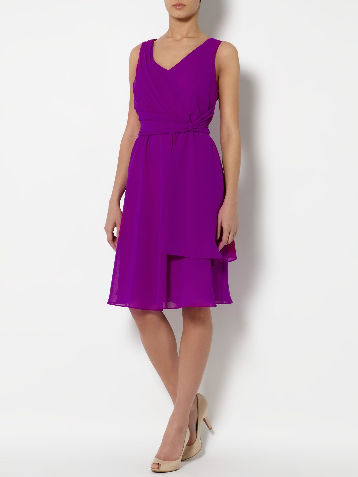 Woven wrap front dress
