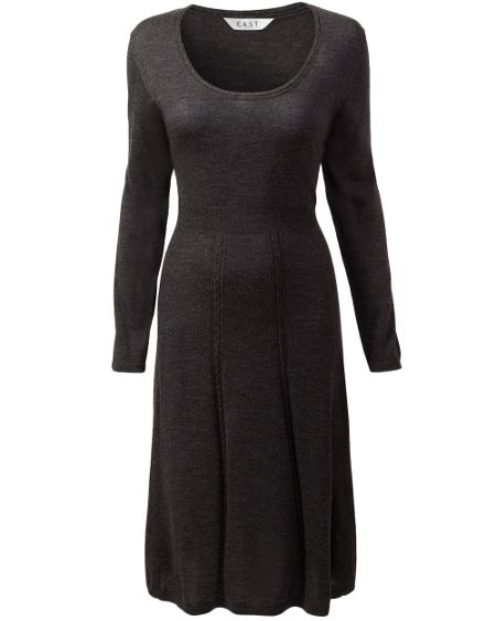 East Merino cable detail seam dress
