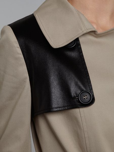 Helene Berman Double breasted contrast flap trench