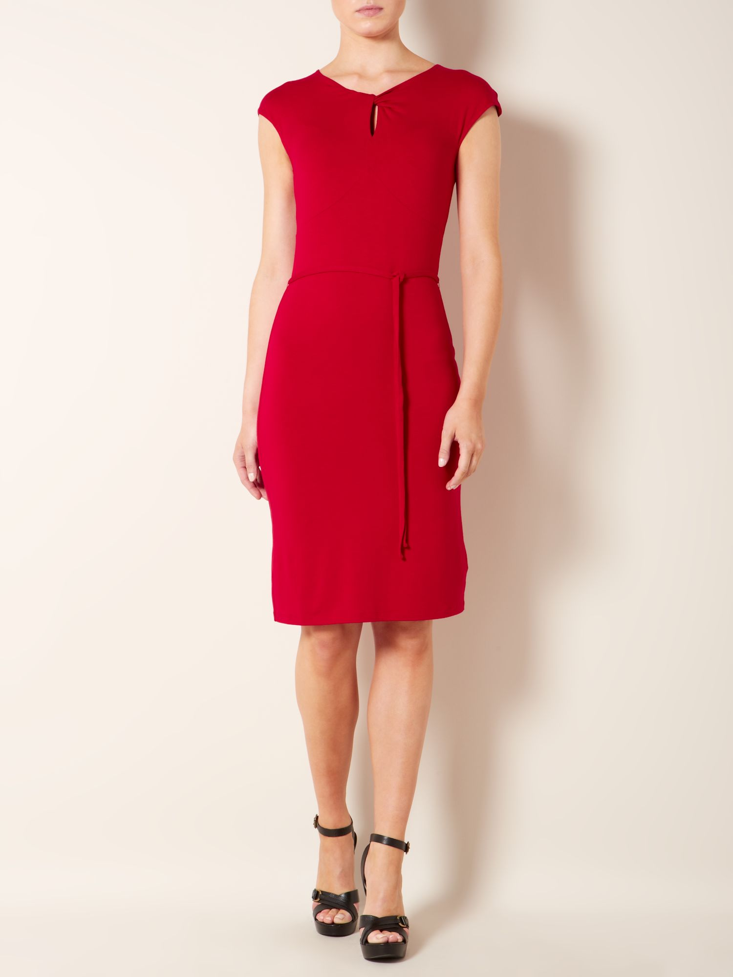 Cap sleeved twist neck dress with tie