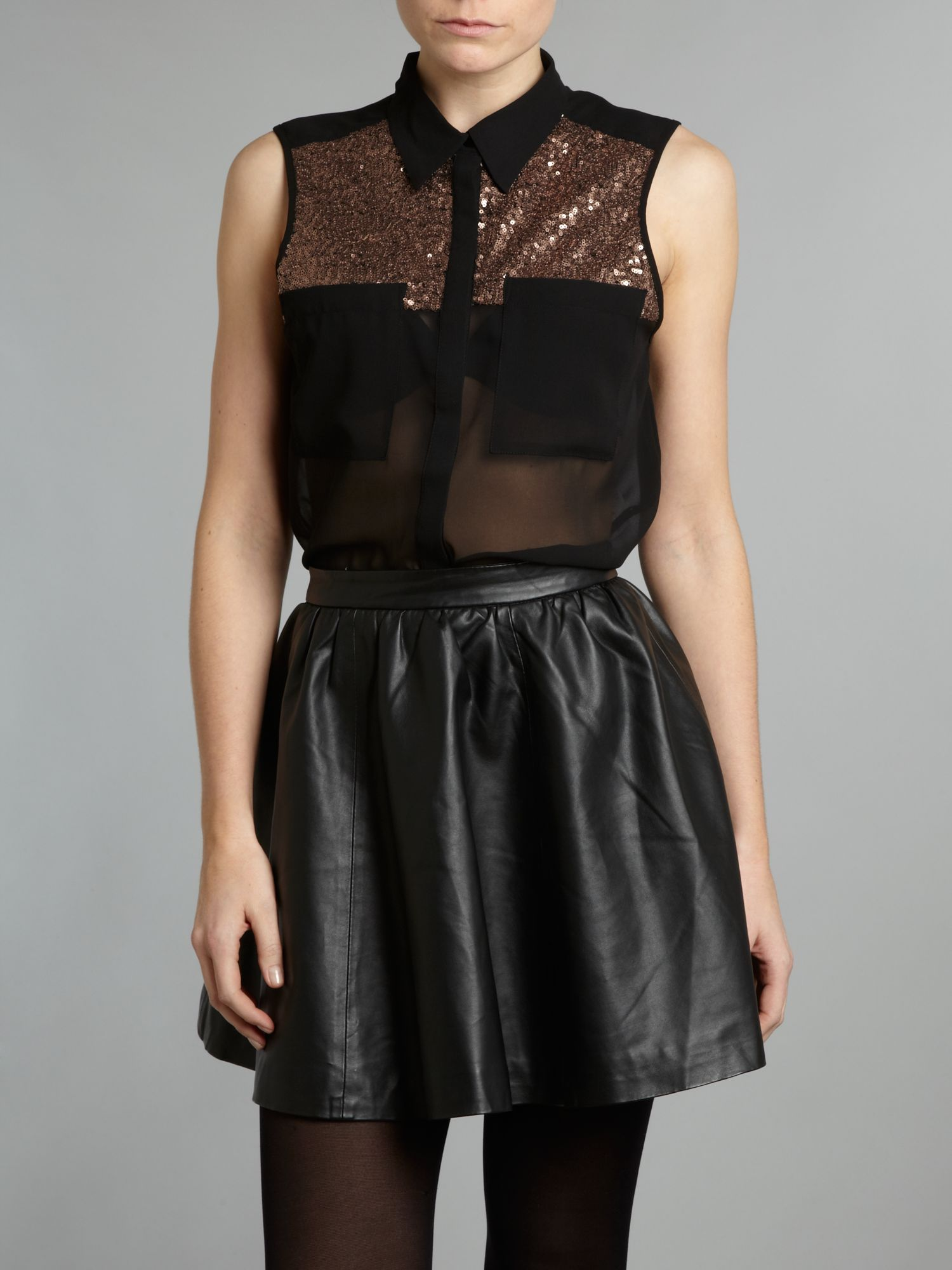 Sequin sheer blouse