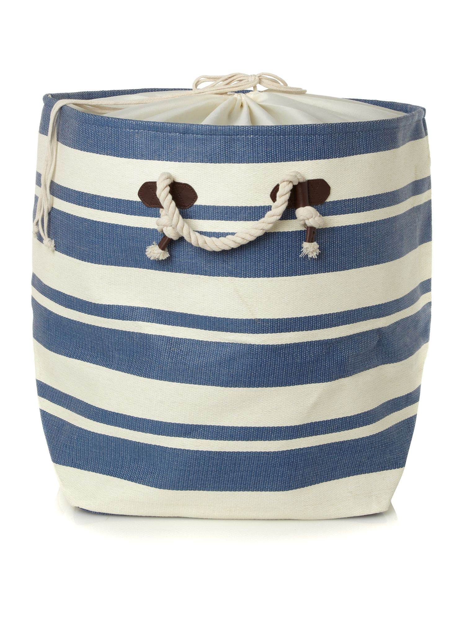 Nautical striped laundry bag in blue