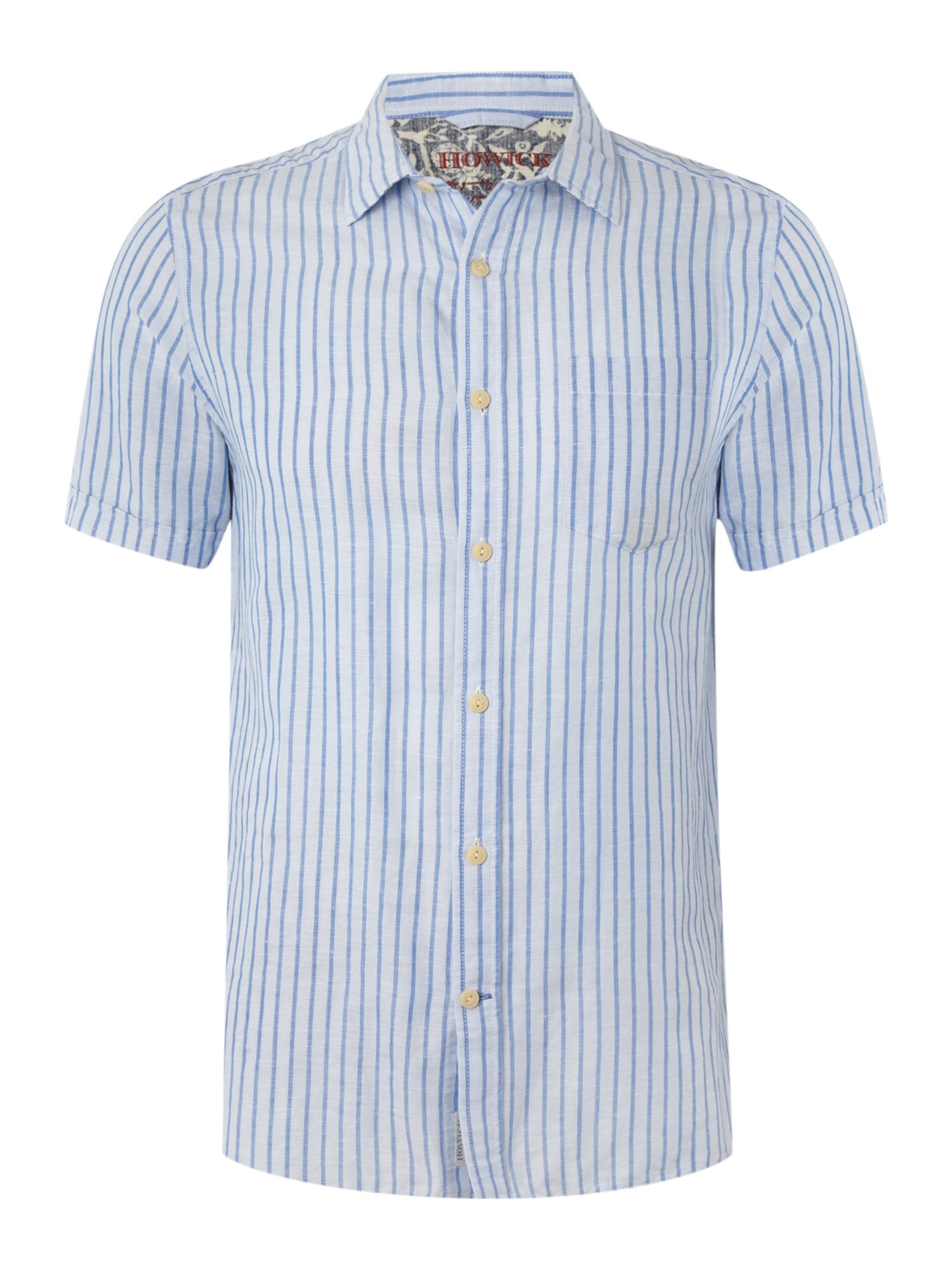 Short sleeved one pocket striped shirt