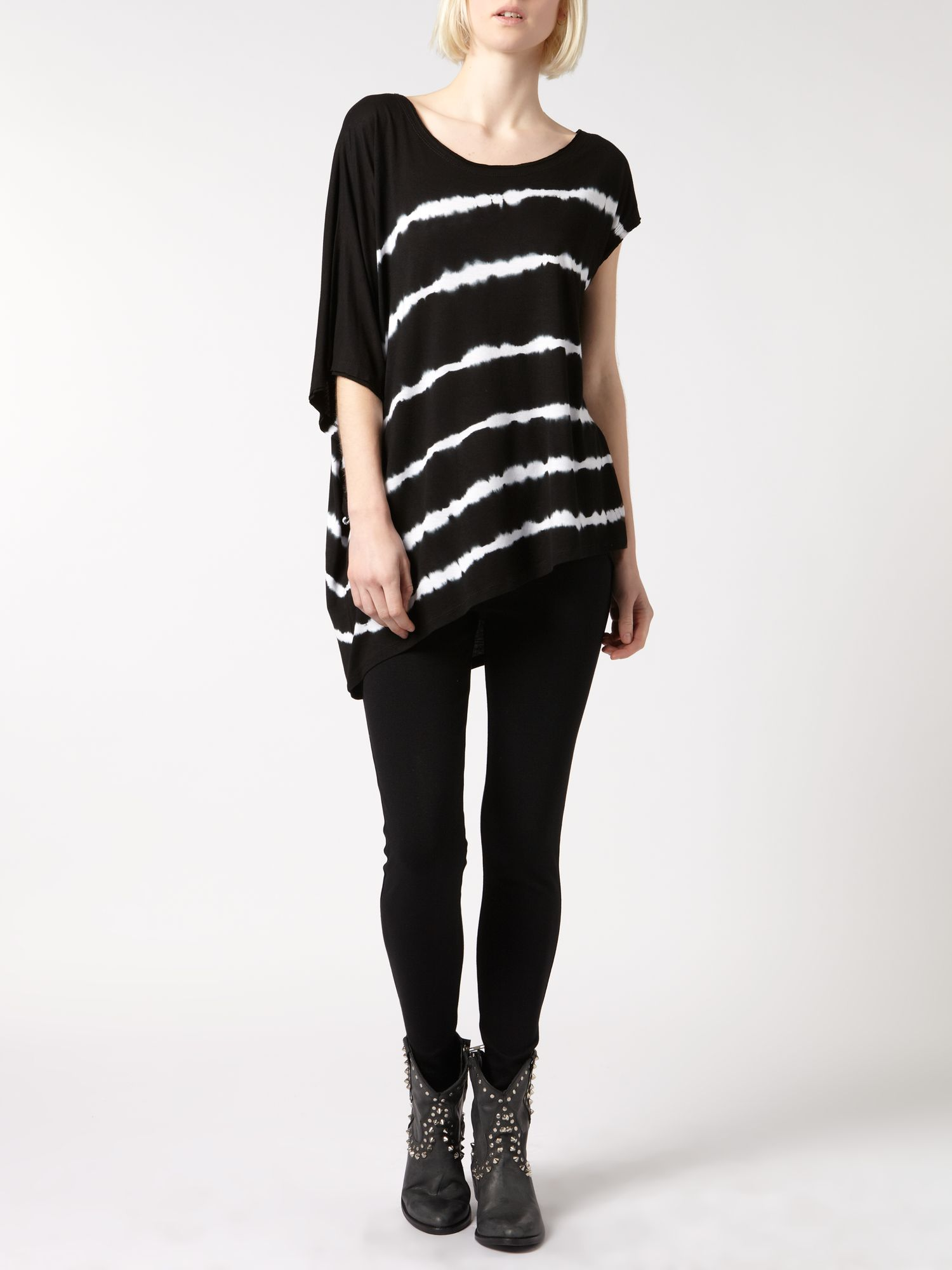 Striped oversize asymmetric tee