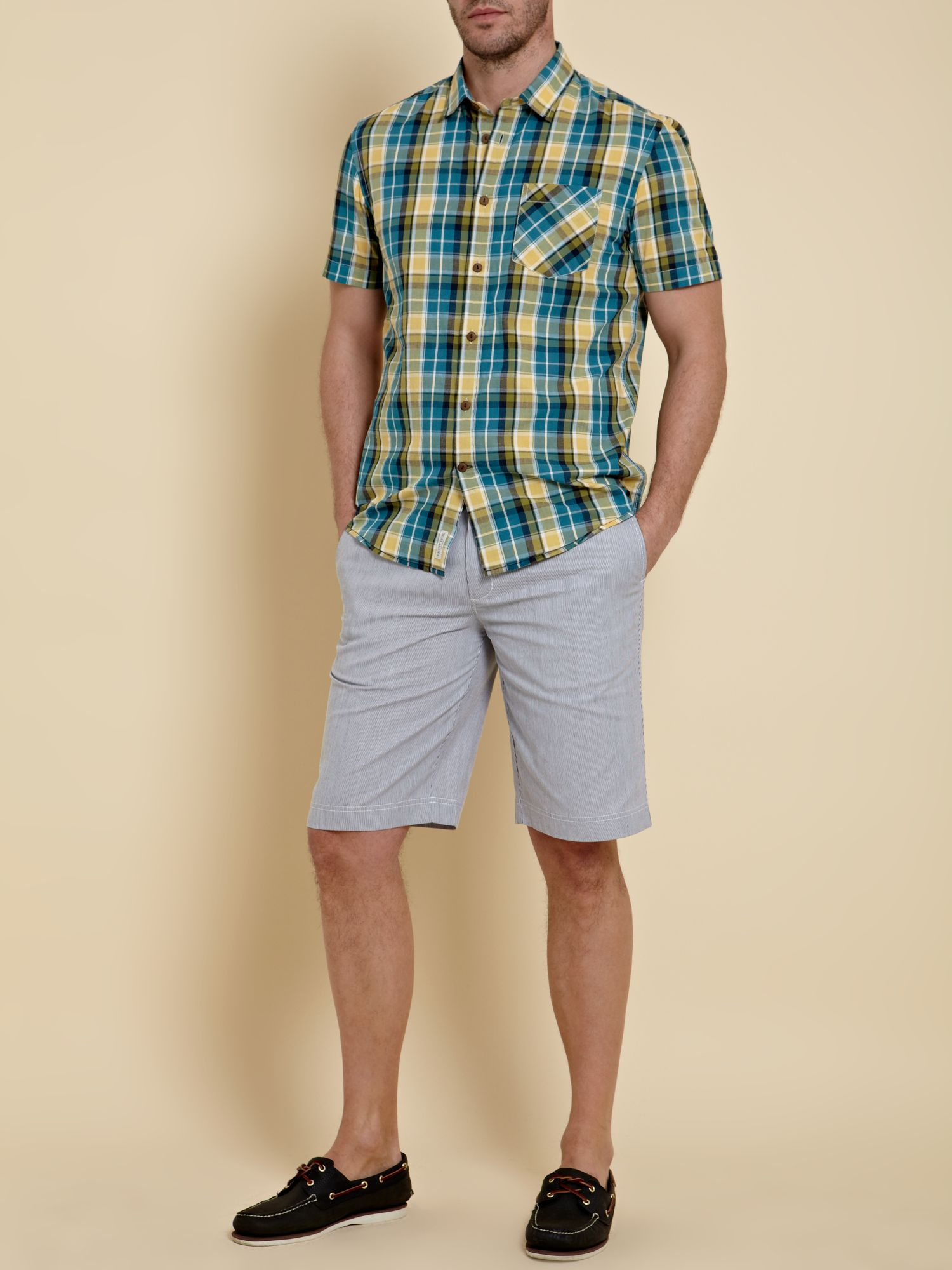 Short sleeved aquatic checked shirt