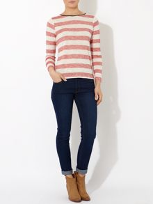Ladies Stripe Top with Contrast Neck Binding