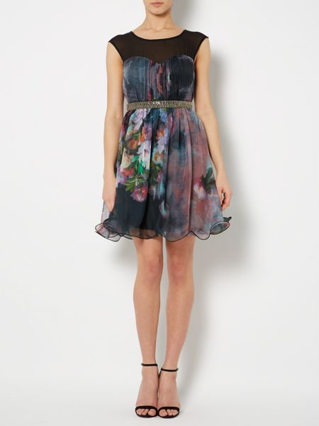 Little Mistress Fit and Flare print dress