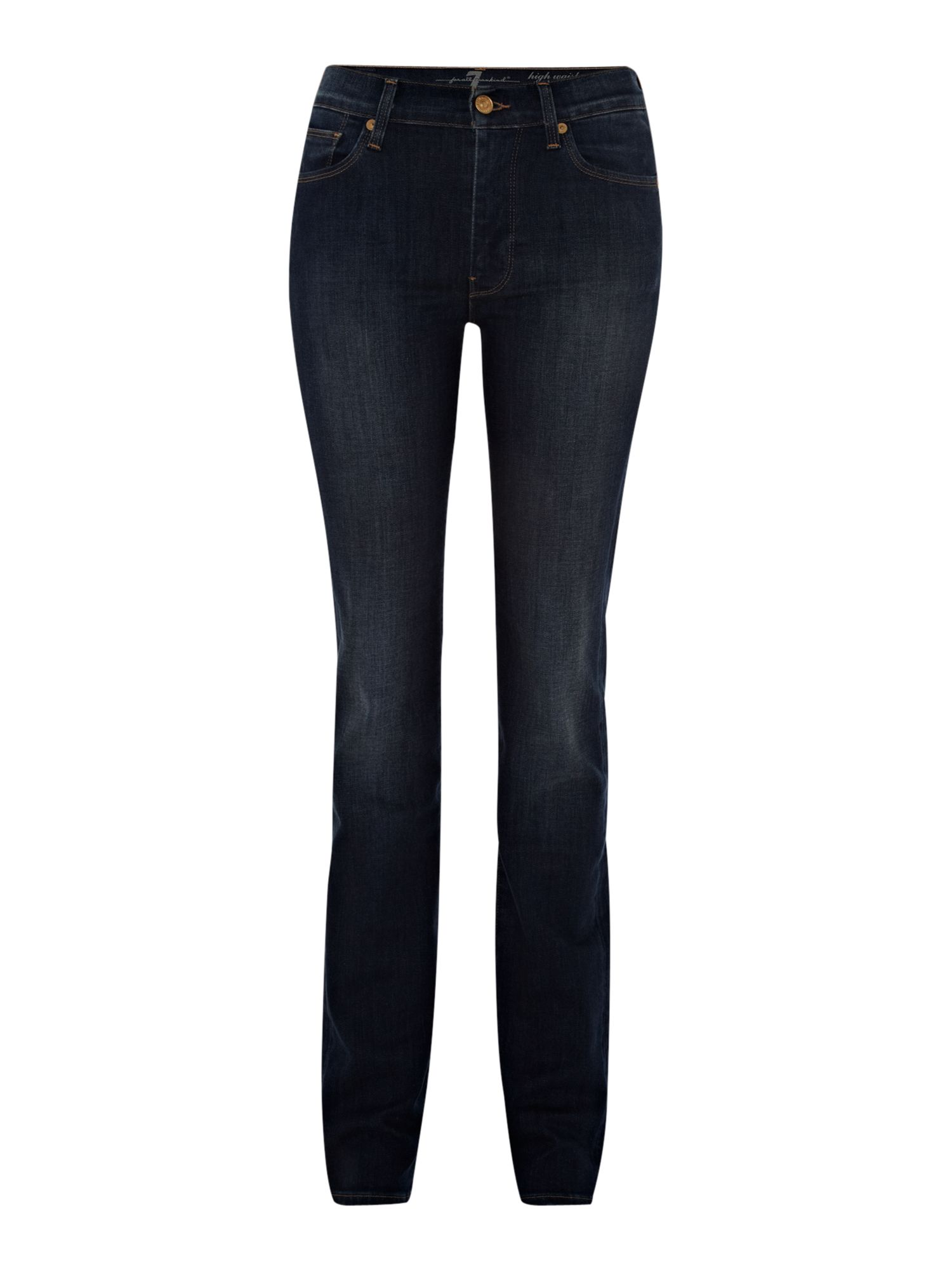High waist straight leg jeans in Medium Indigo