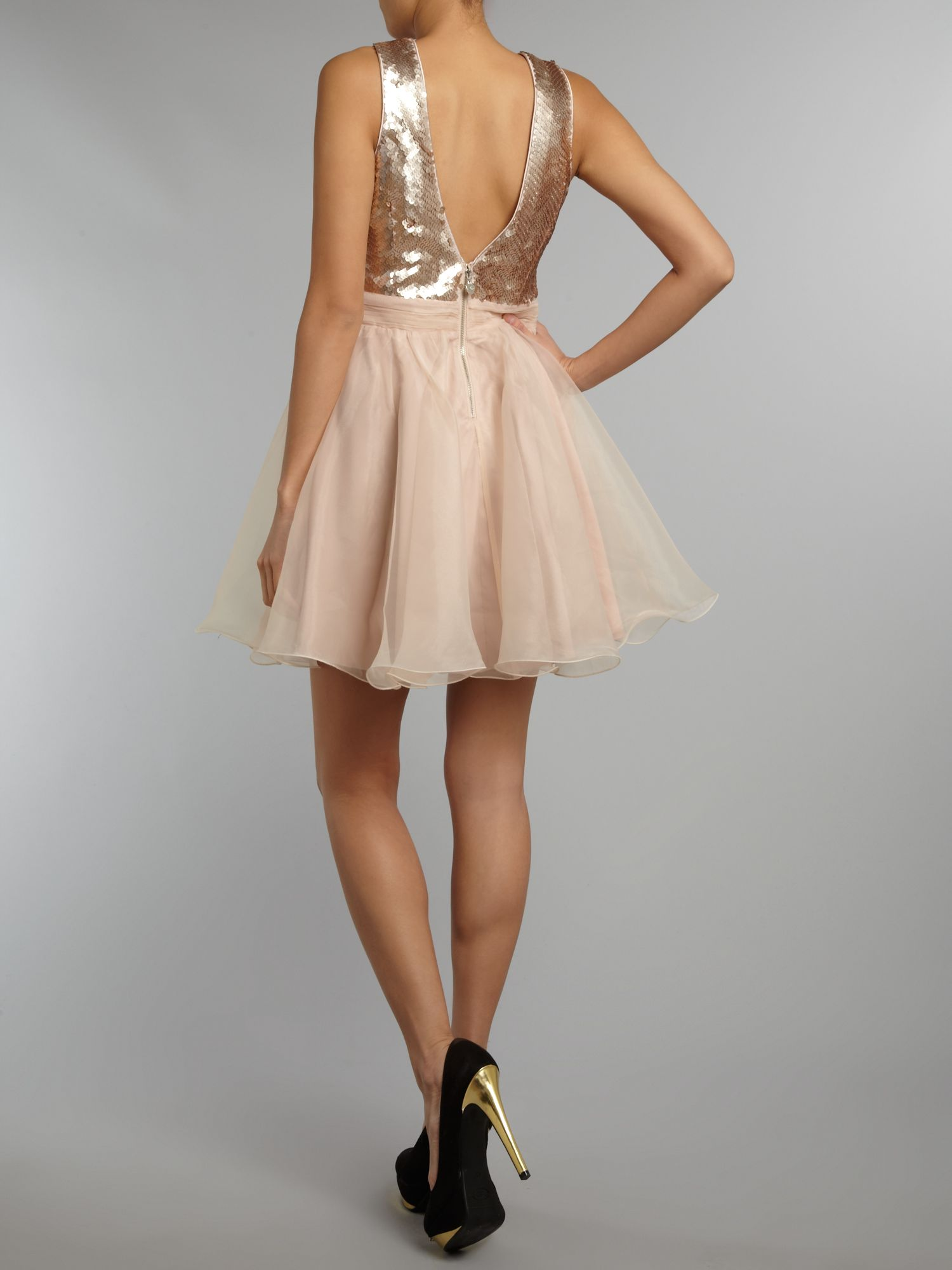 Metallic deep V prom dress