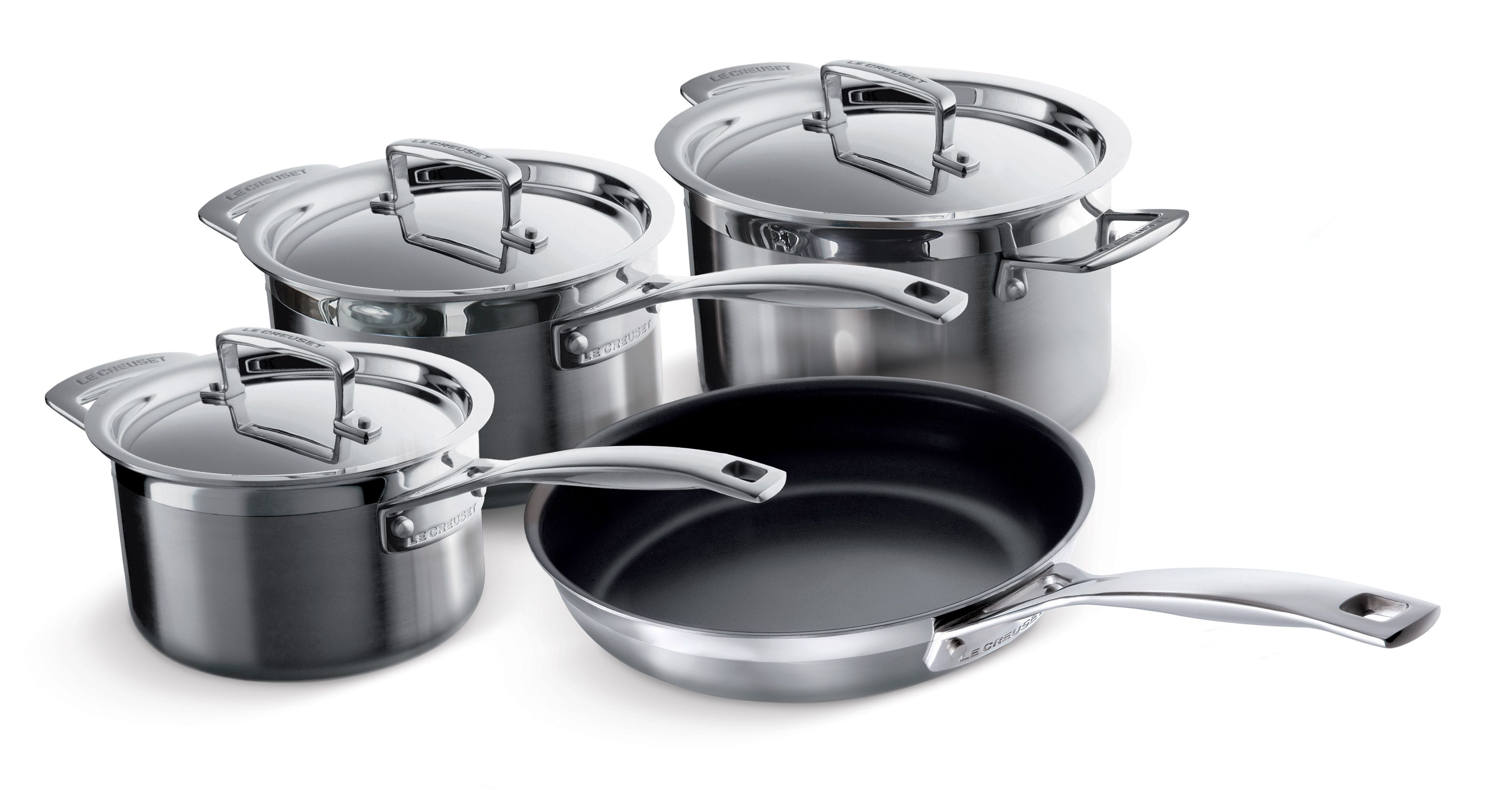 Le Creuset 3-Ply Stainless Steel 4 Piece Pan Set