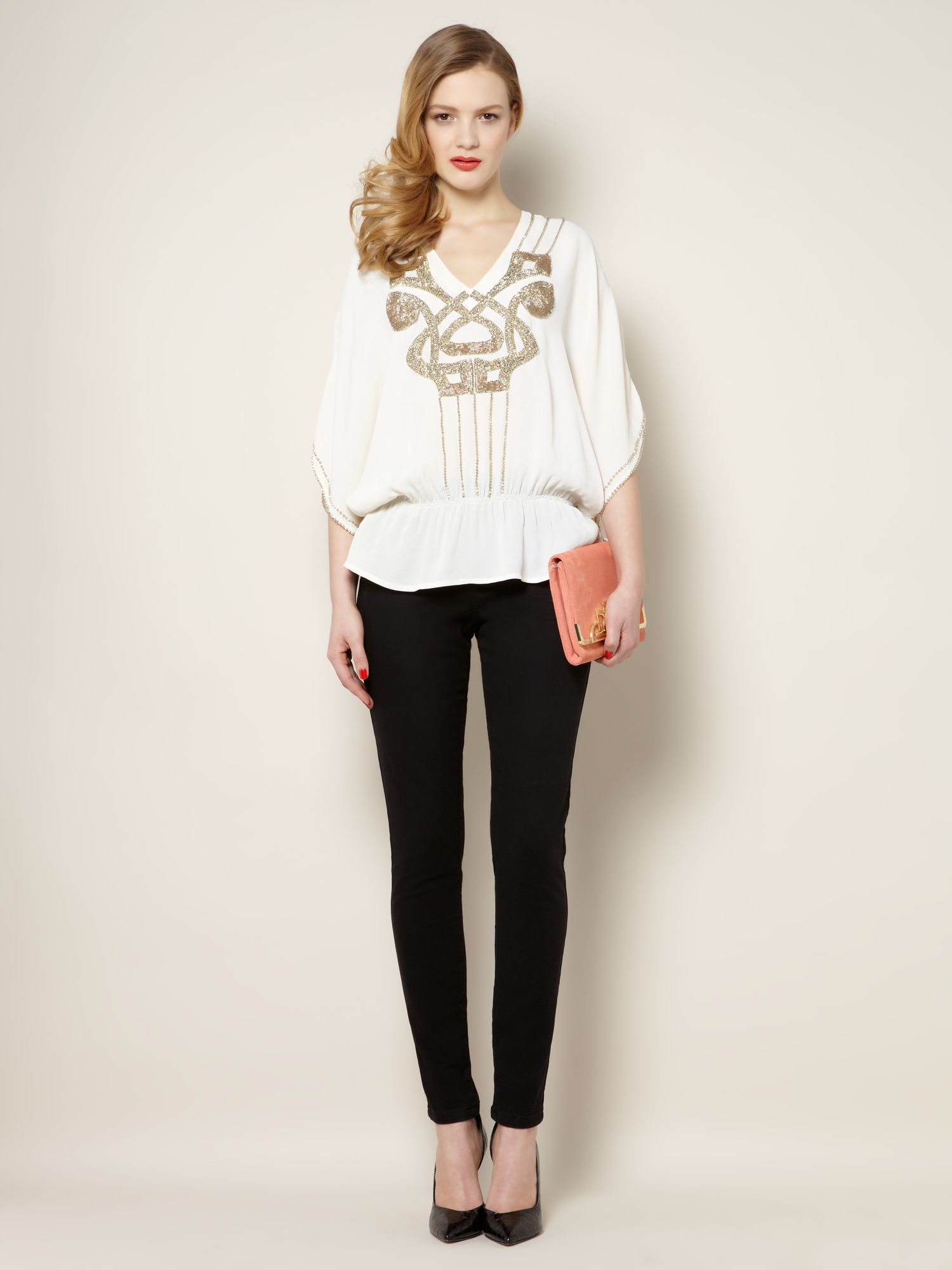 Embellished logo detail volume top
