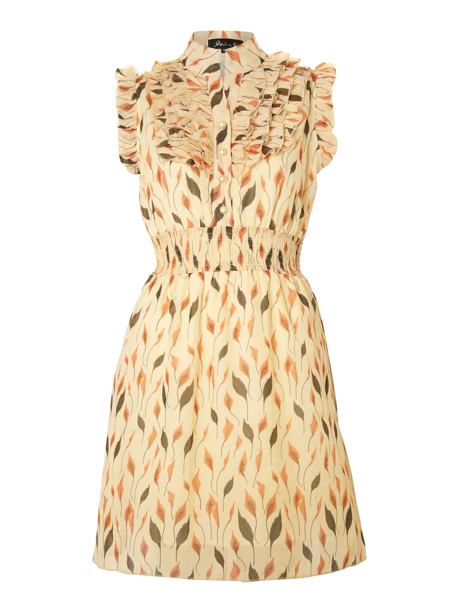 Leaf print ruffle dress