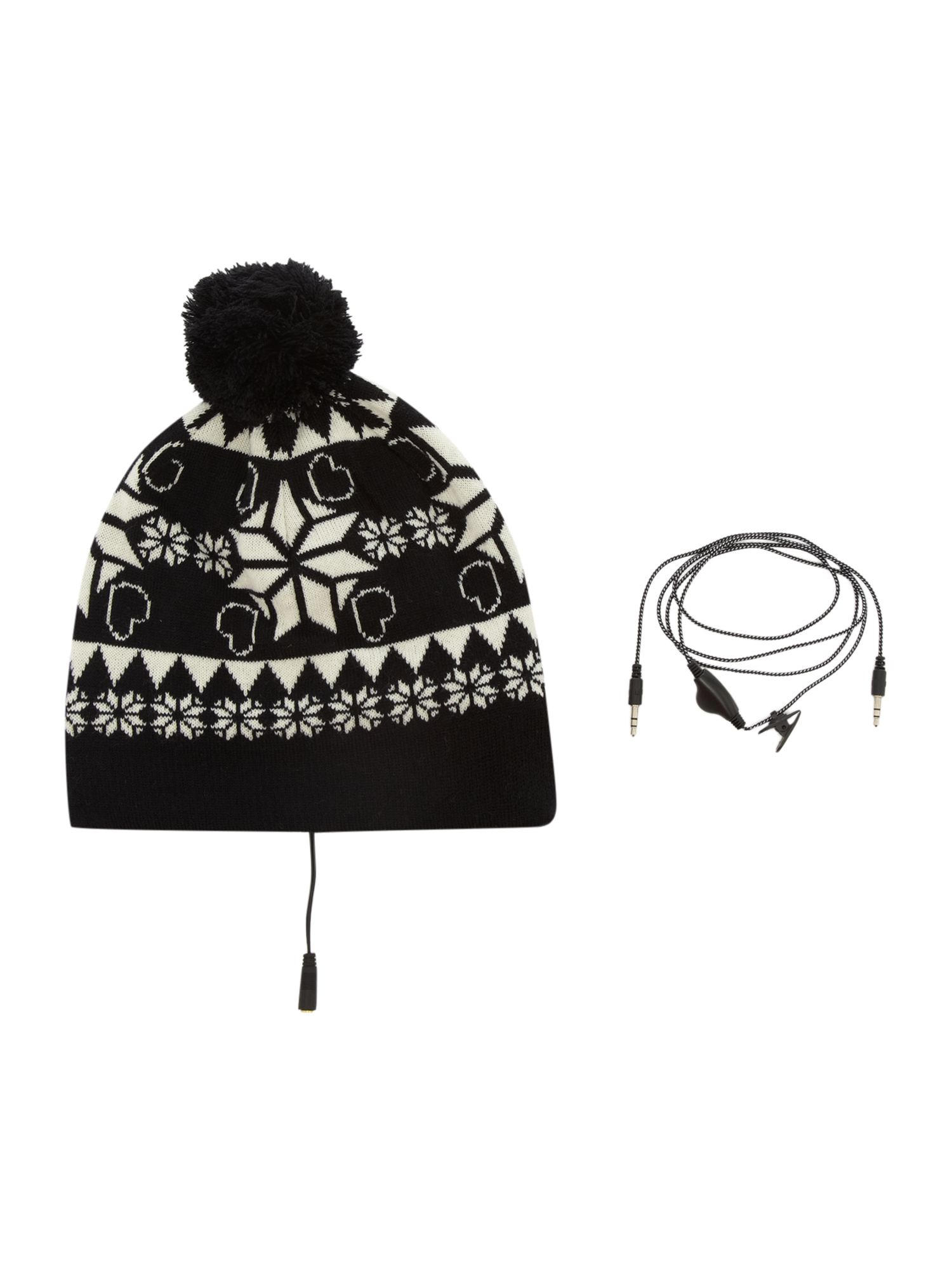 Fairisle pompom headphone hat