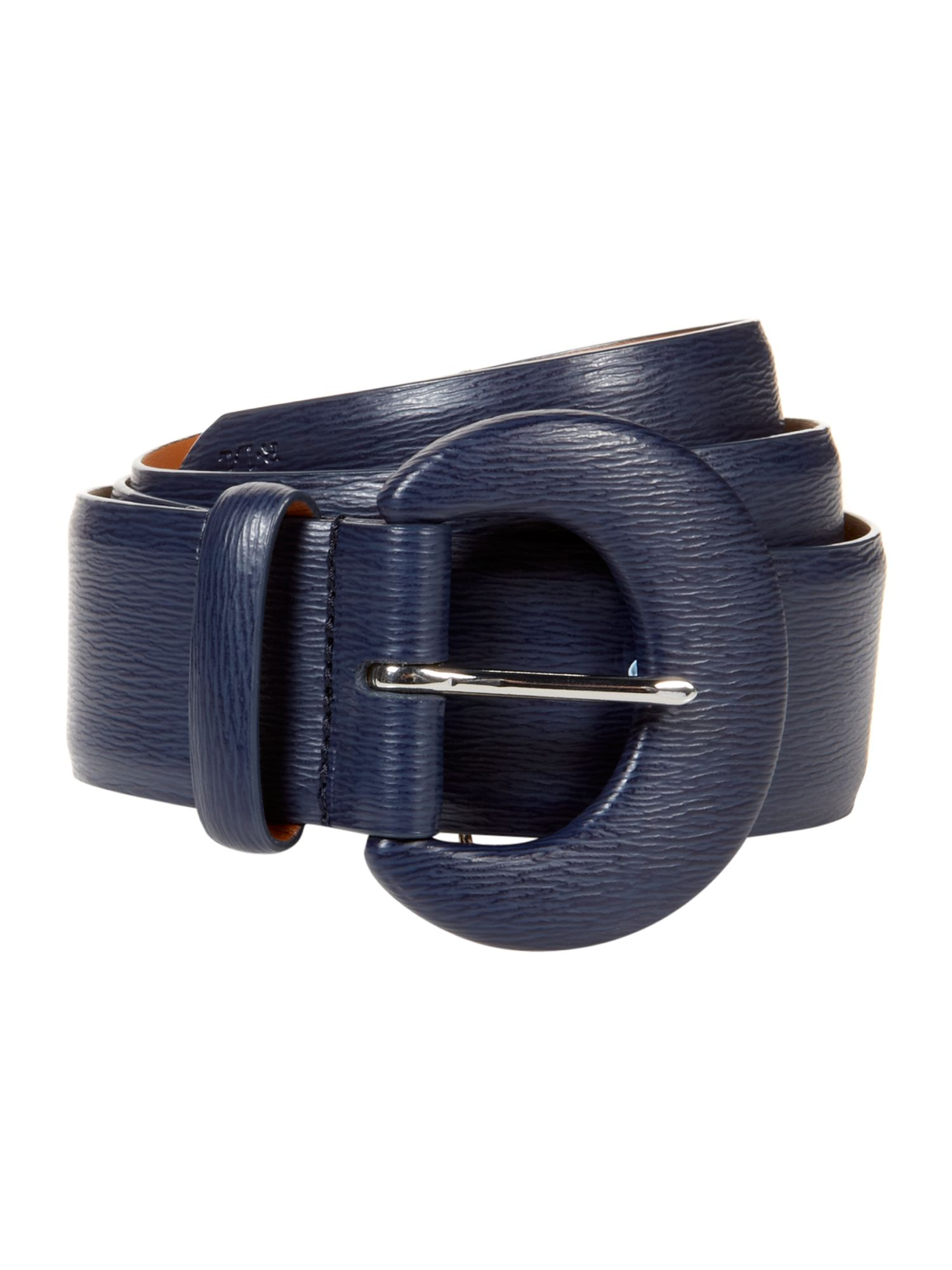 Thick fabric belt with leather detail