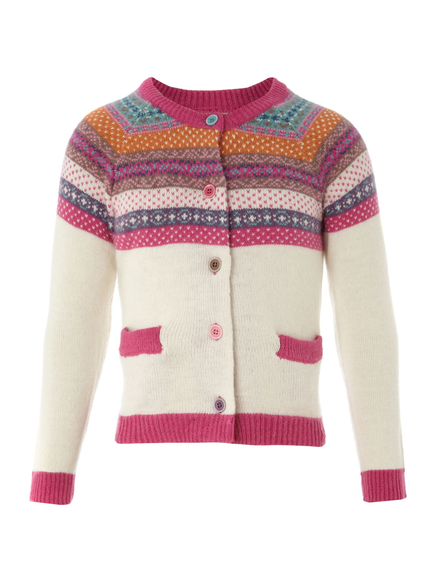 Girls kinsey fairisle cardigan