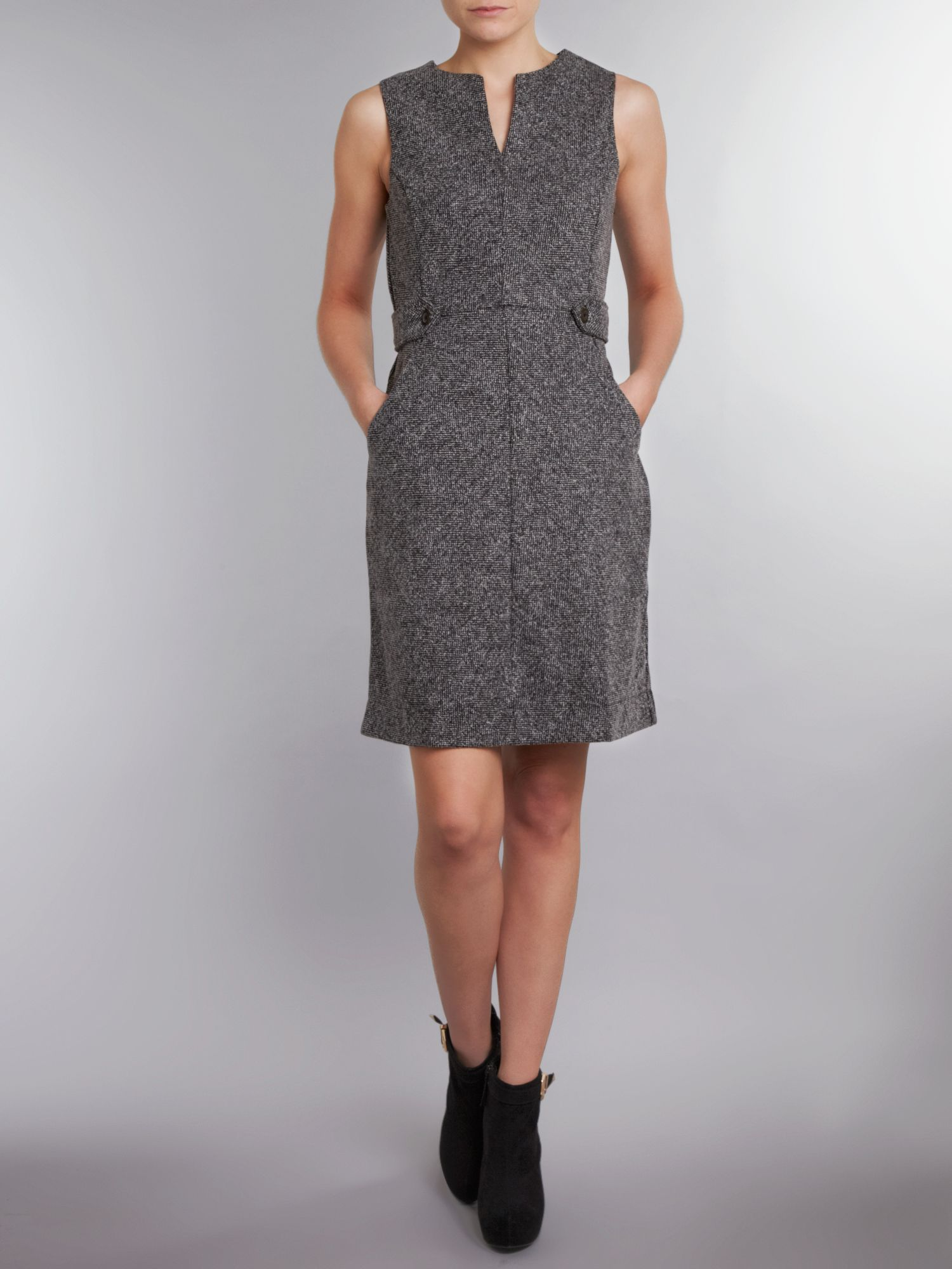 Women`s regular tweed boucle shift dress