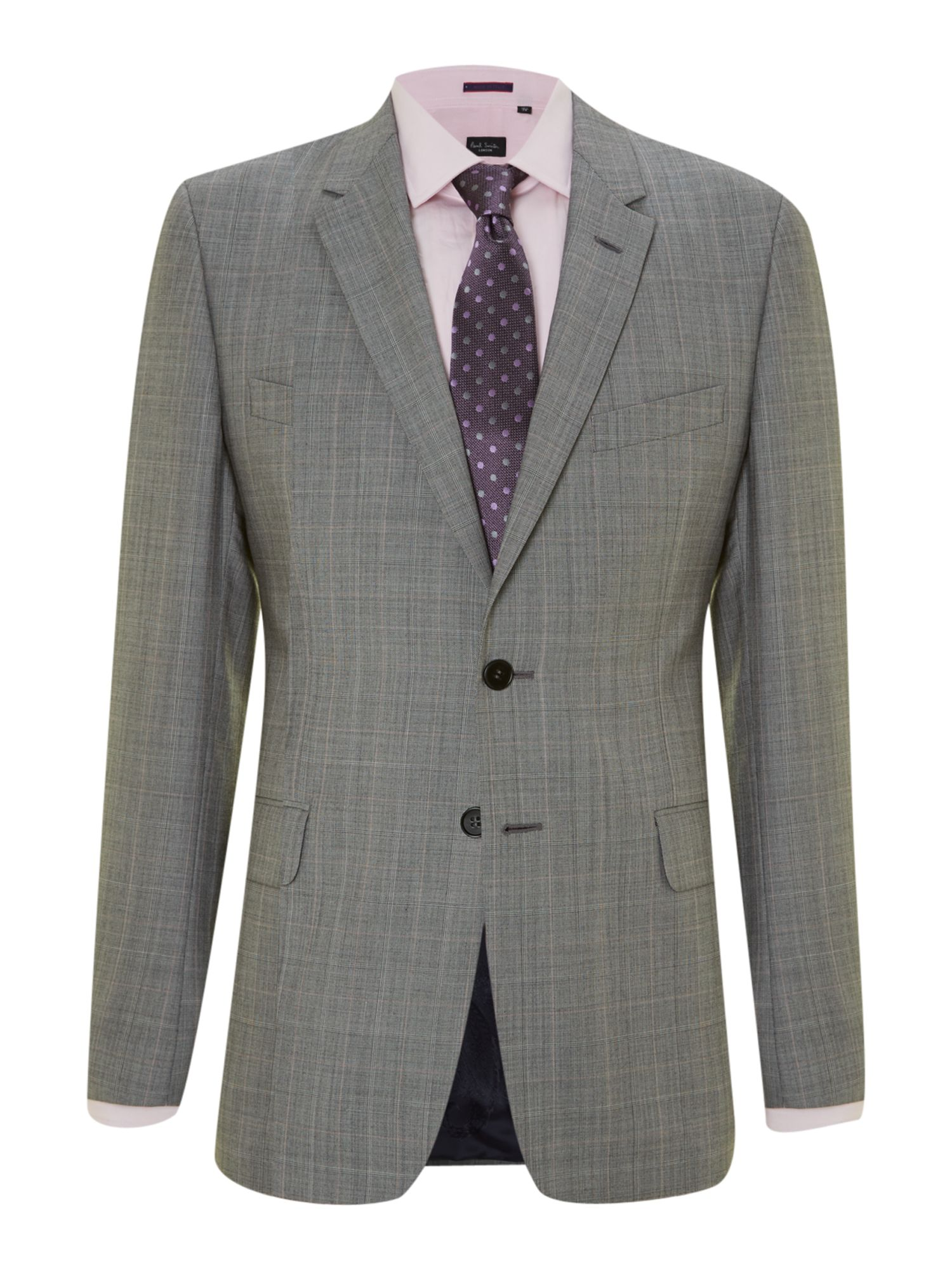 Floral slim fit checked suit