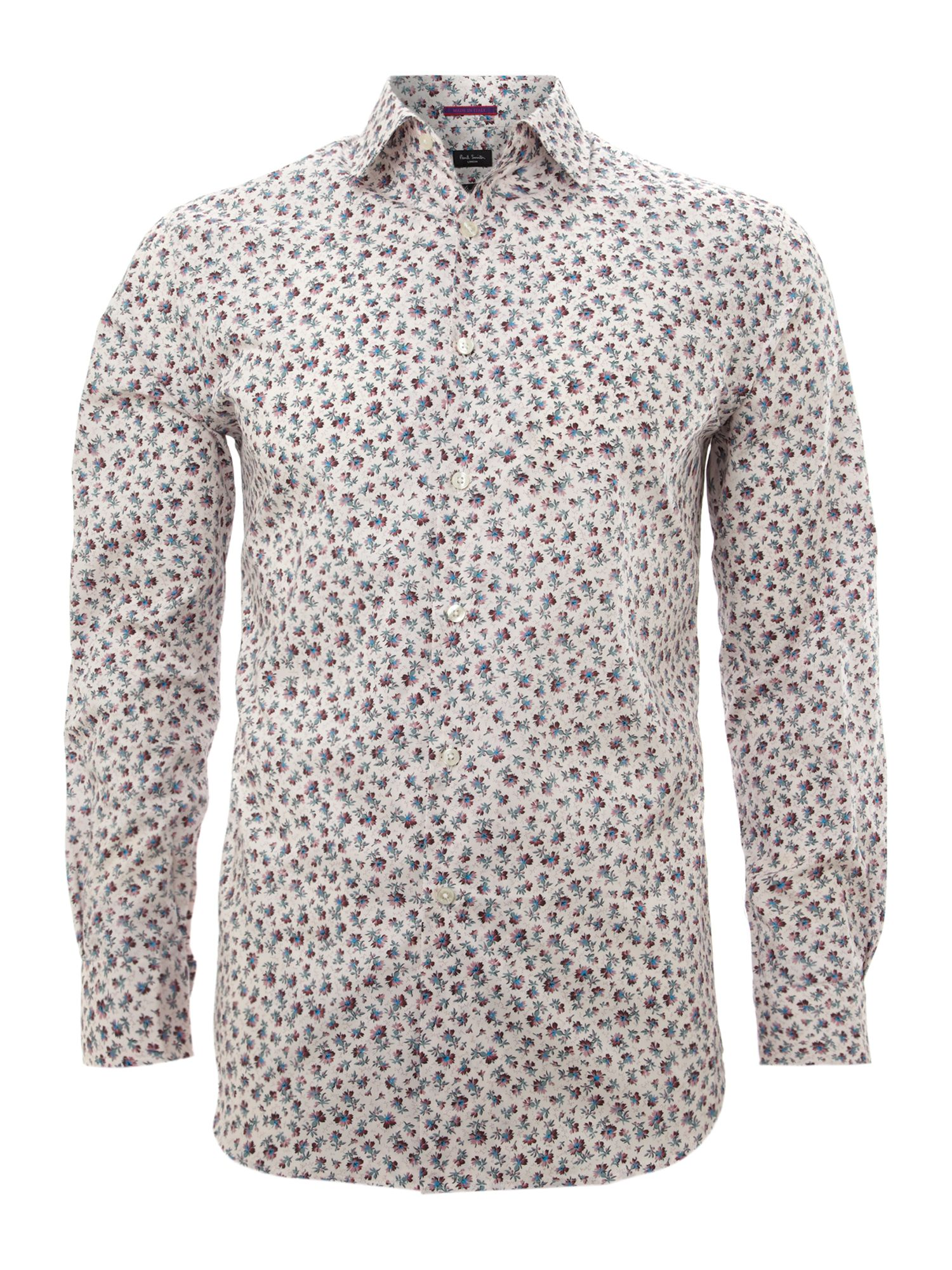Long sleeved bright floral shirt