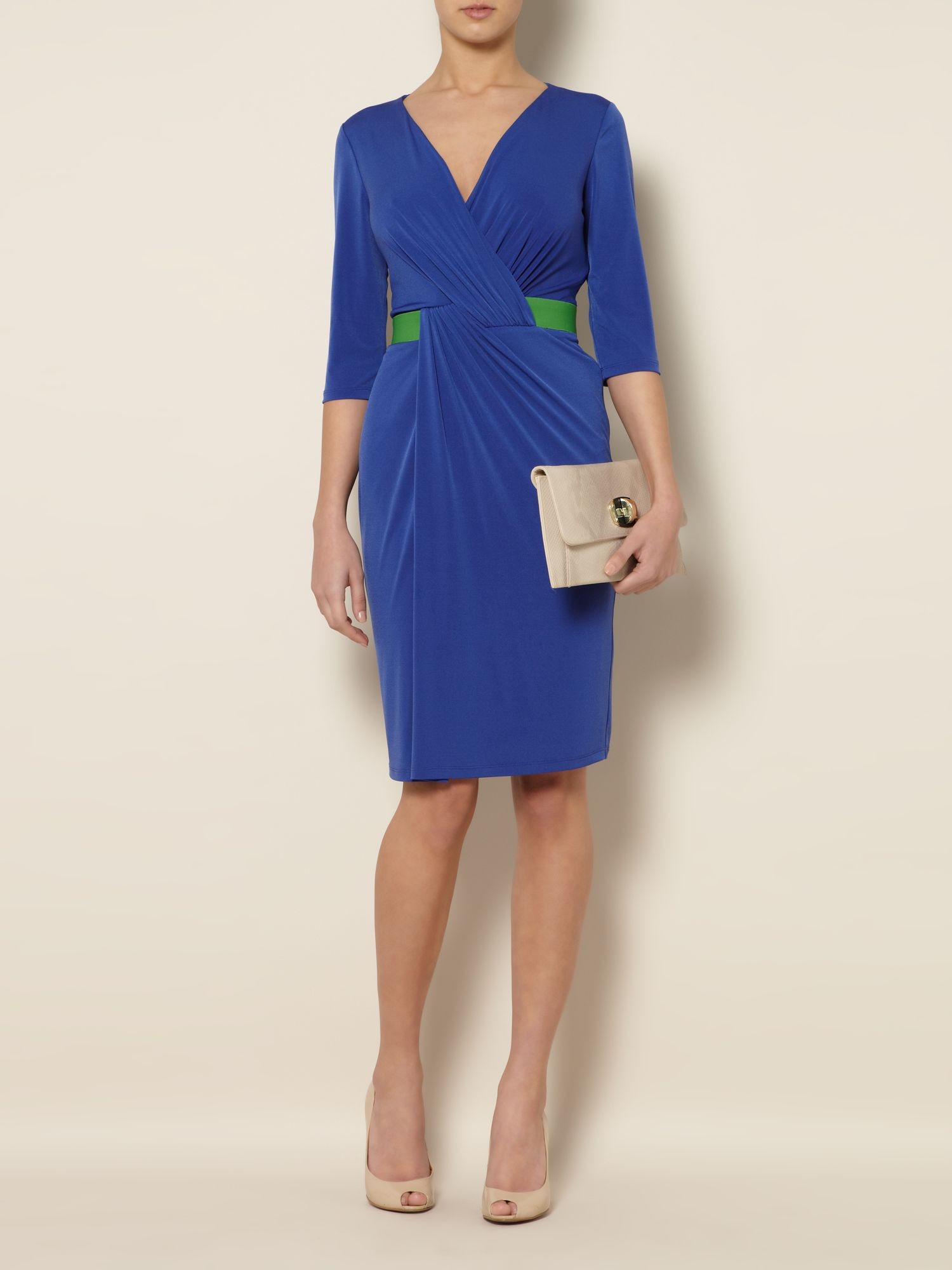 Contrast belt jersey dress