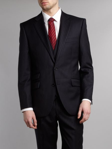 New & Lingwood Garth widestripe suit jacket with ticket pocket