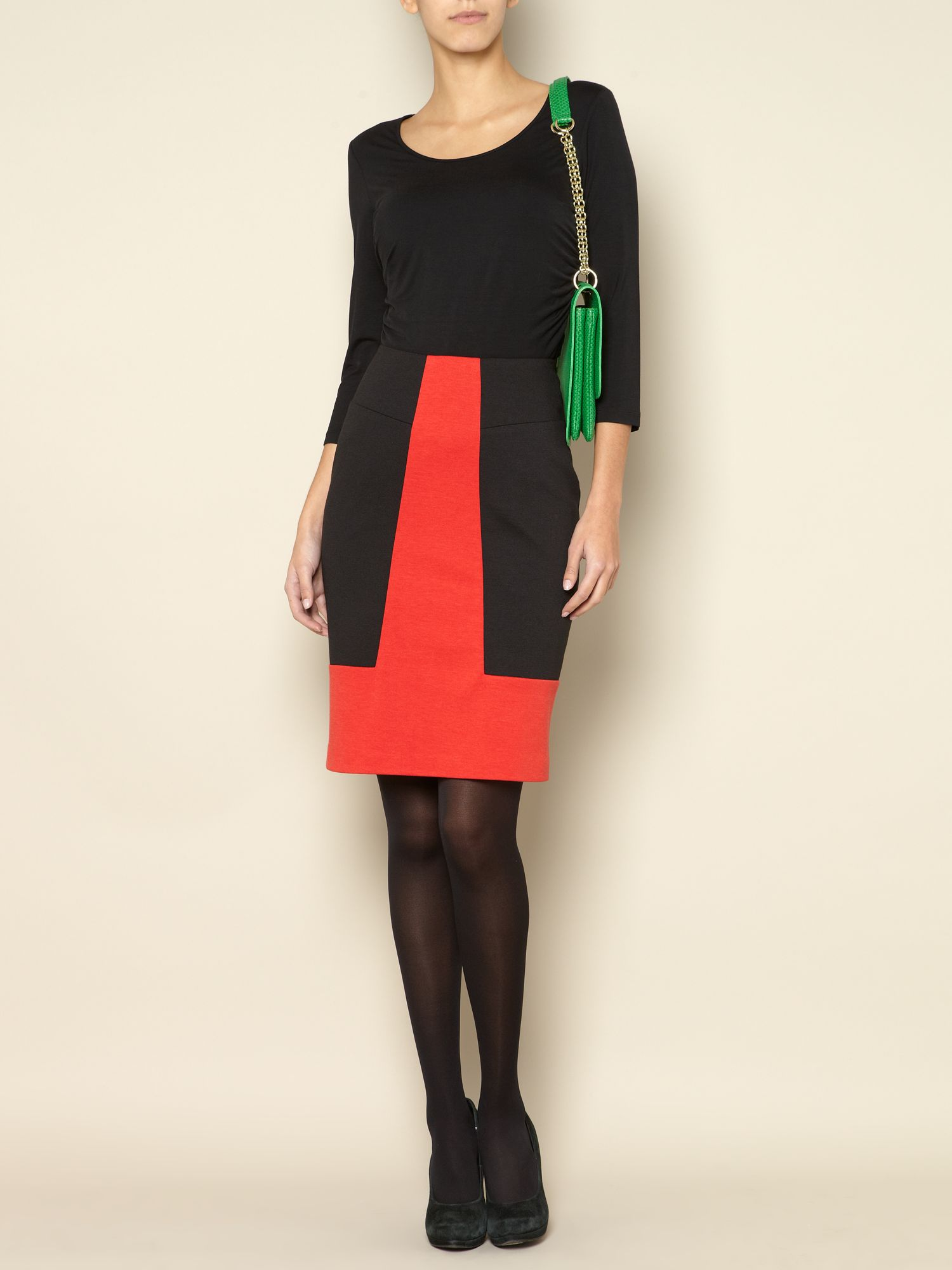 Ponte colourblock skirt
