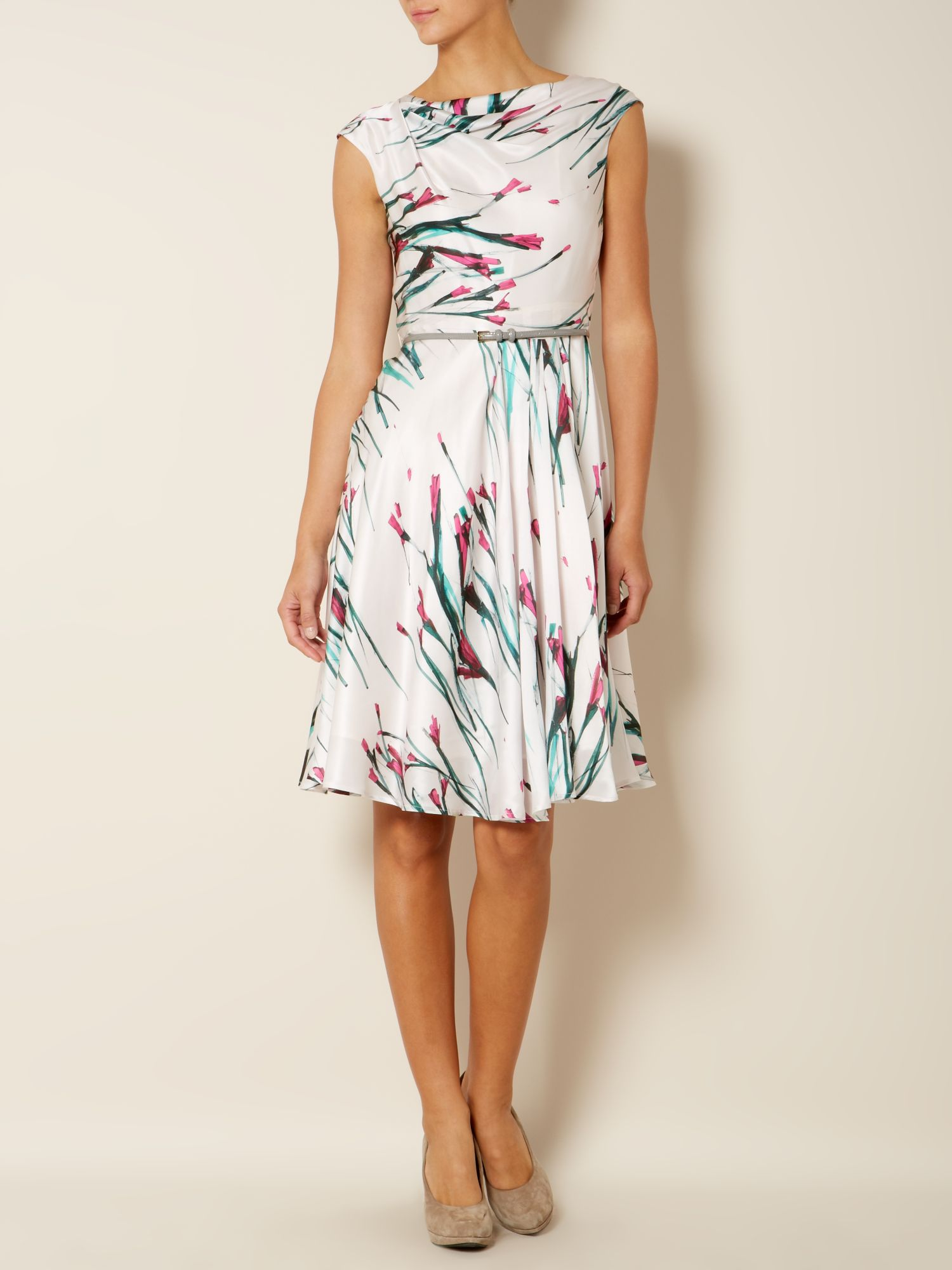 Berg silk floral dress with belt
