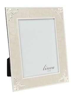 Cream enamel and pearl photo frame 5 x