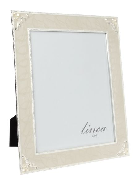 Linea Cream enamel and pearl photo frame 8x10