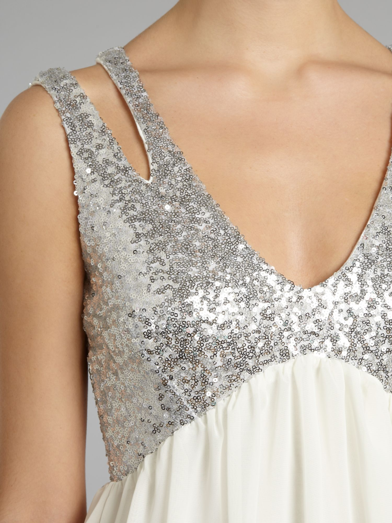 Sequin cut out shoulder dress