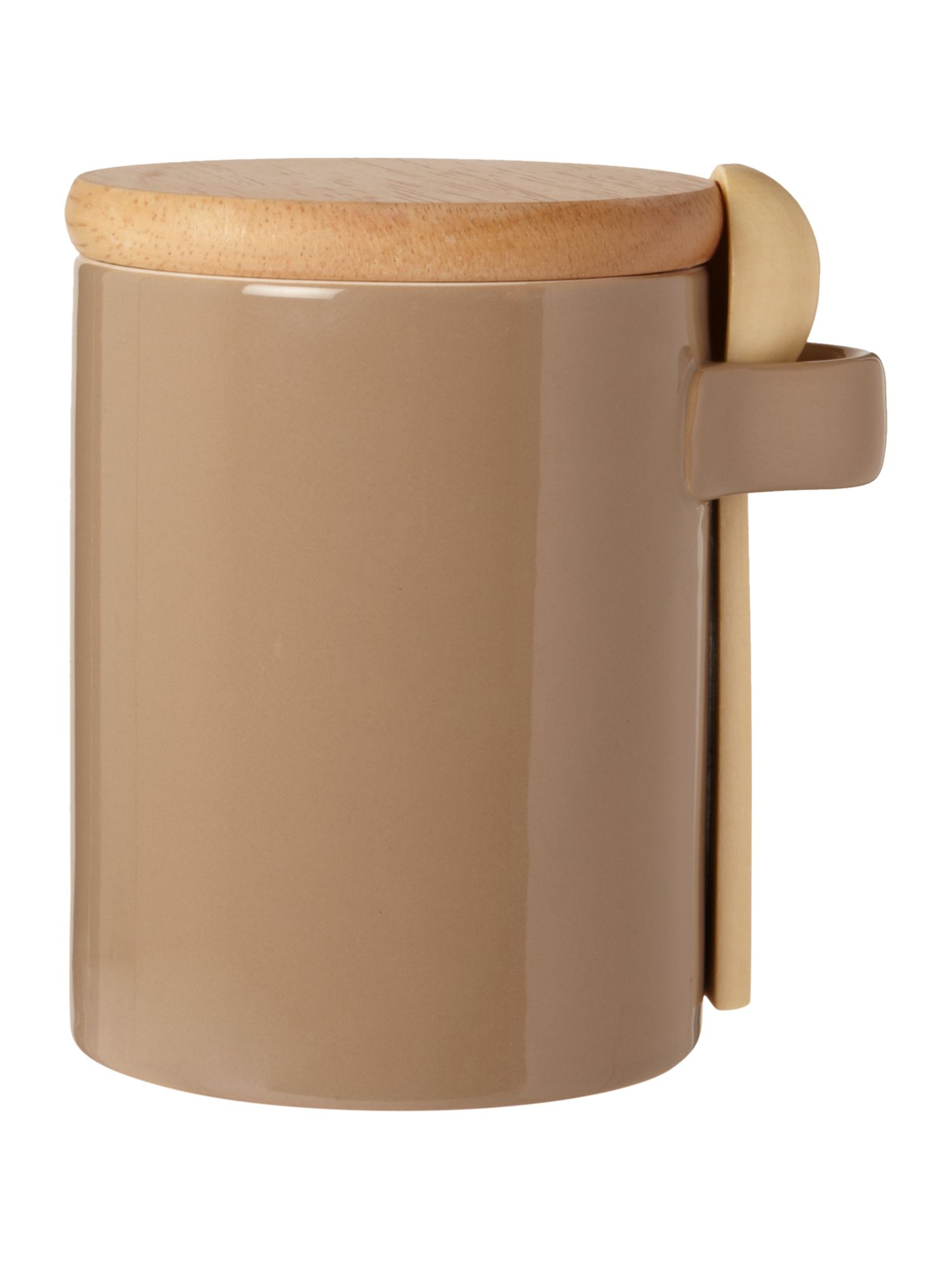 Pastel brown storage jar with spoon