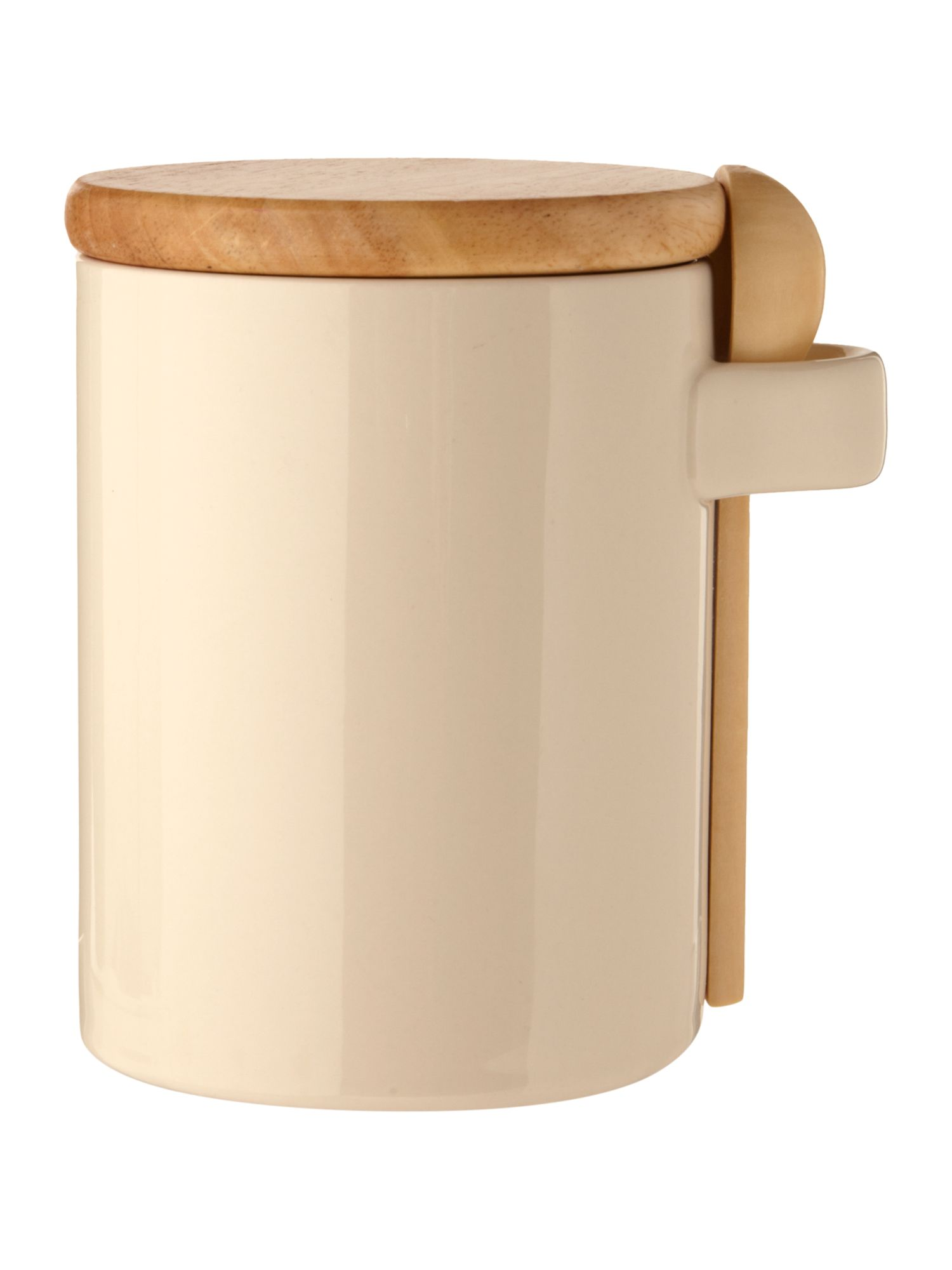 Pastel beige storage jar with spoon