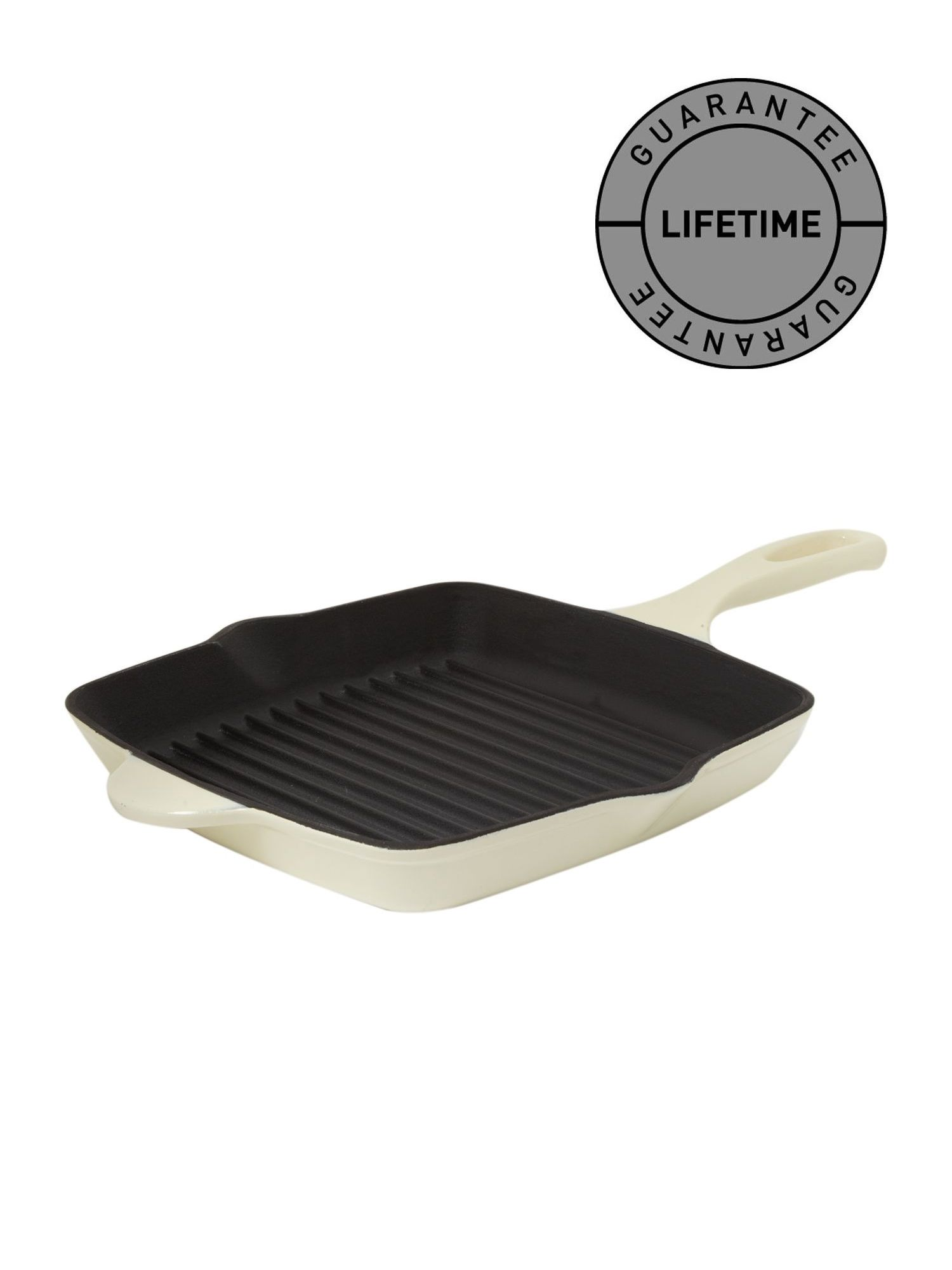 Cream Cast Iron Grill Pan, 26cm