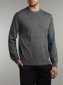 Crew neck jumper with elbow patches