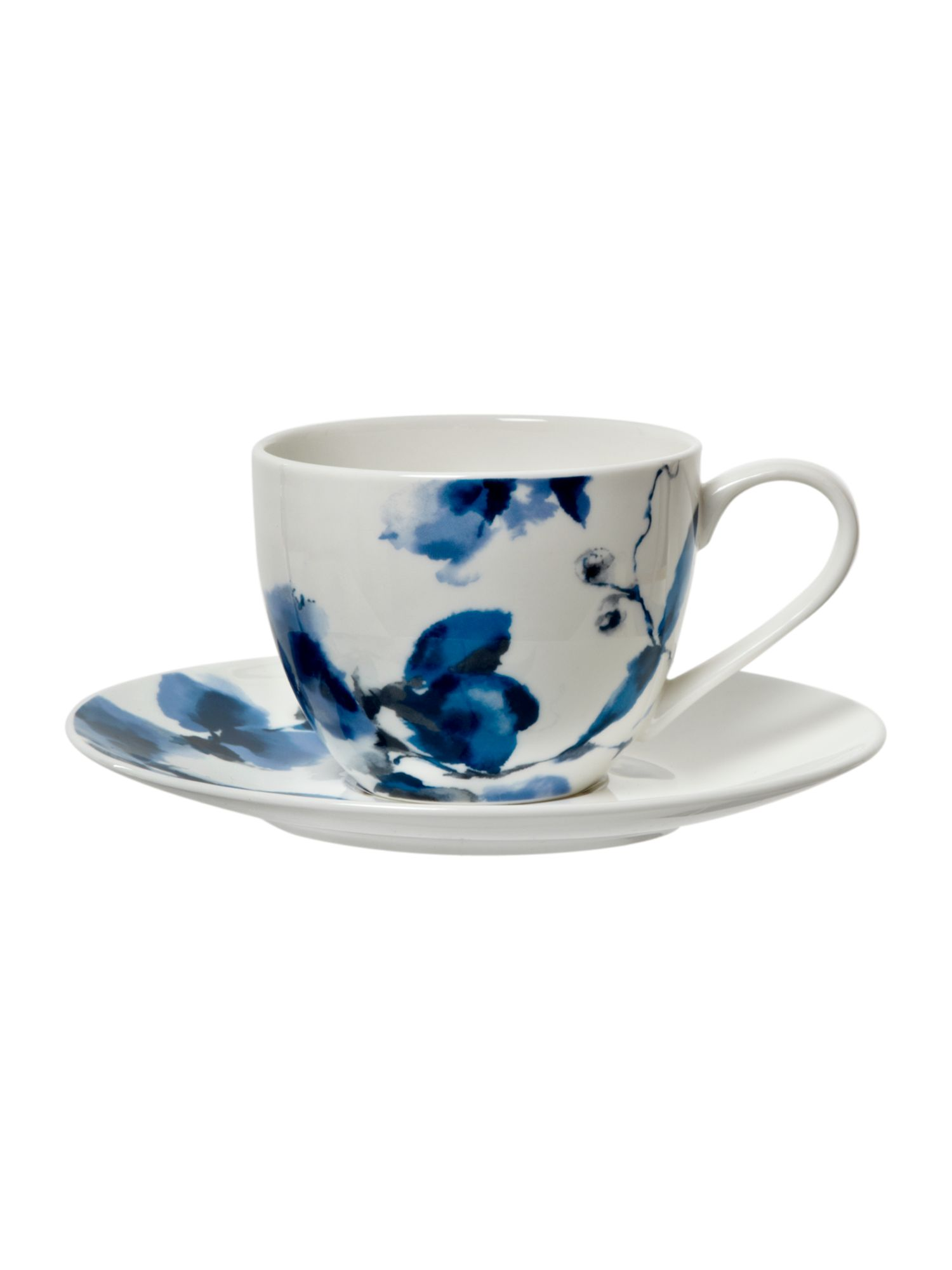 Watercolour floral teacup and saucer