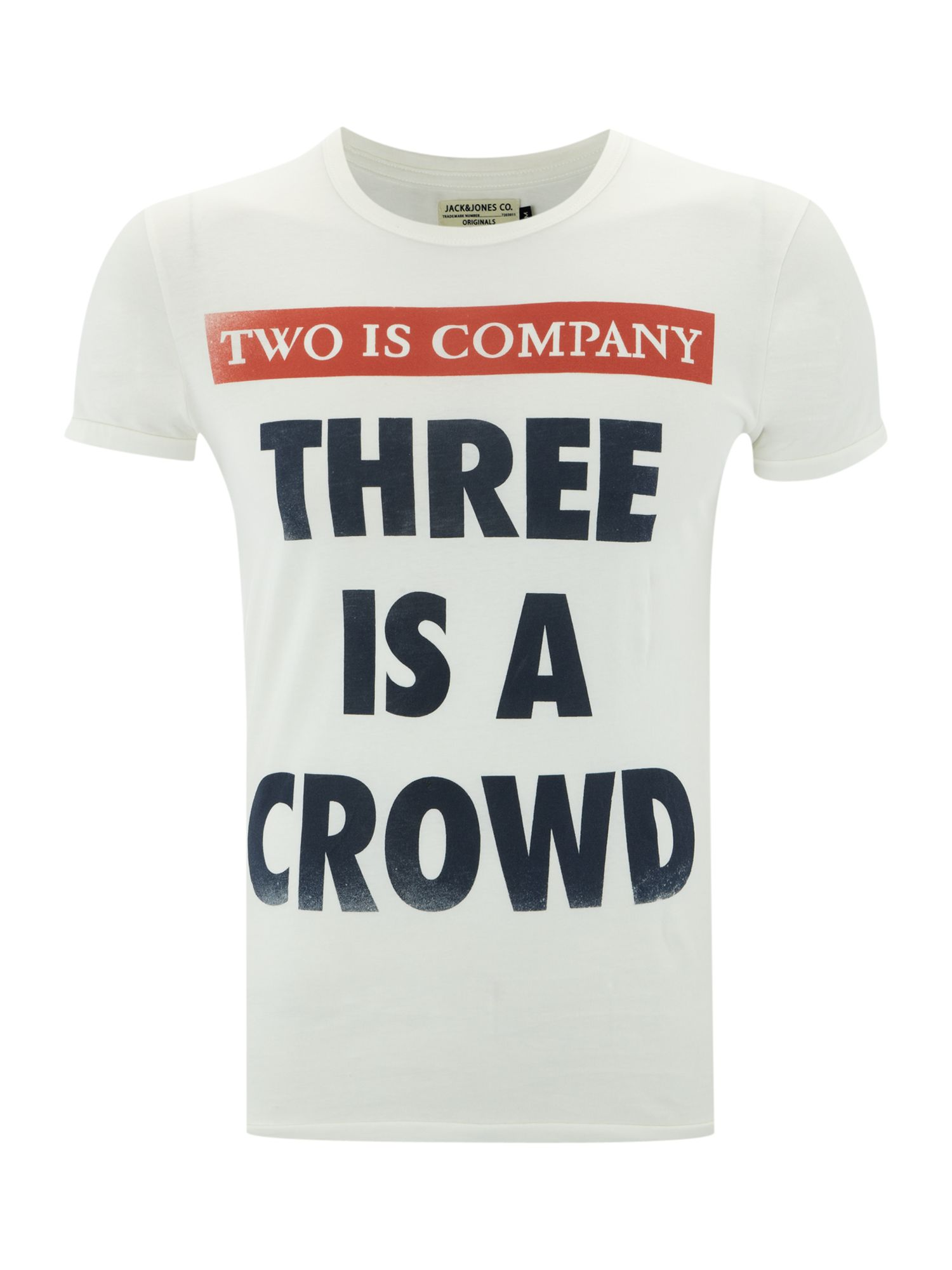 Short-sleeved `3 is a crowd` graphic T-shirt