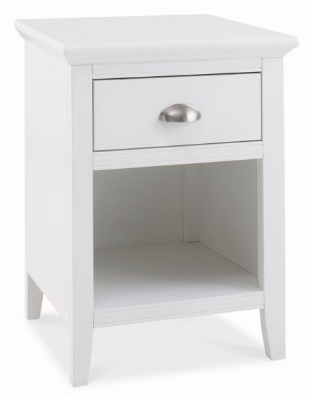 Linea Etienne white 1 drawer bedside chest