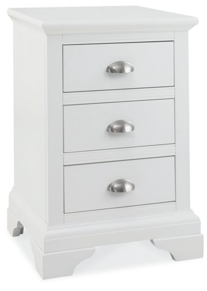Linea Etienne white 3 drawer bedside chest