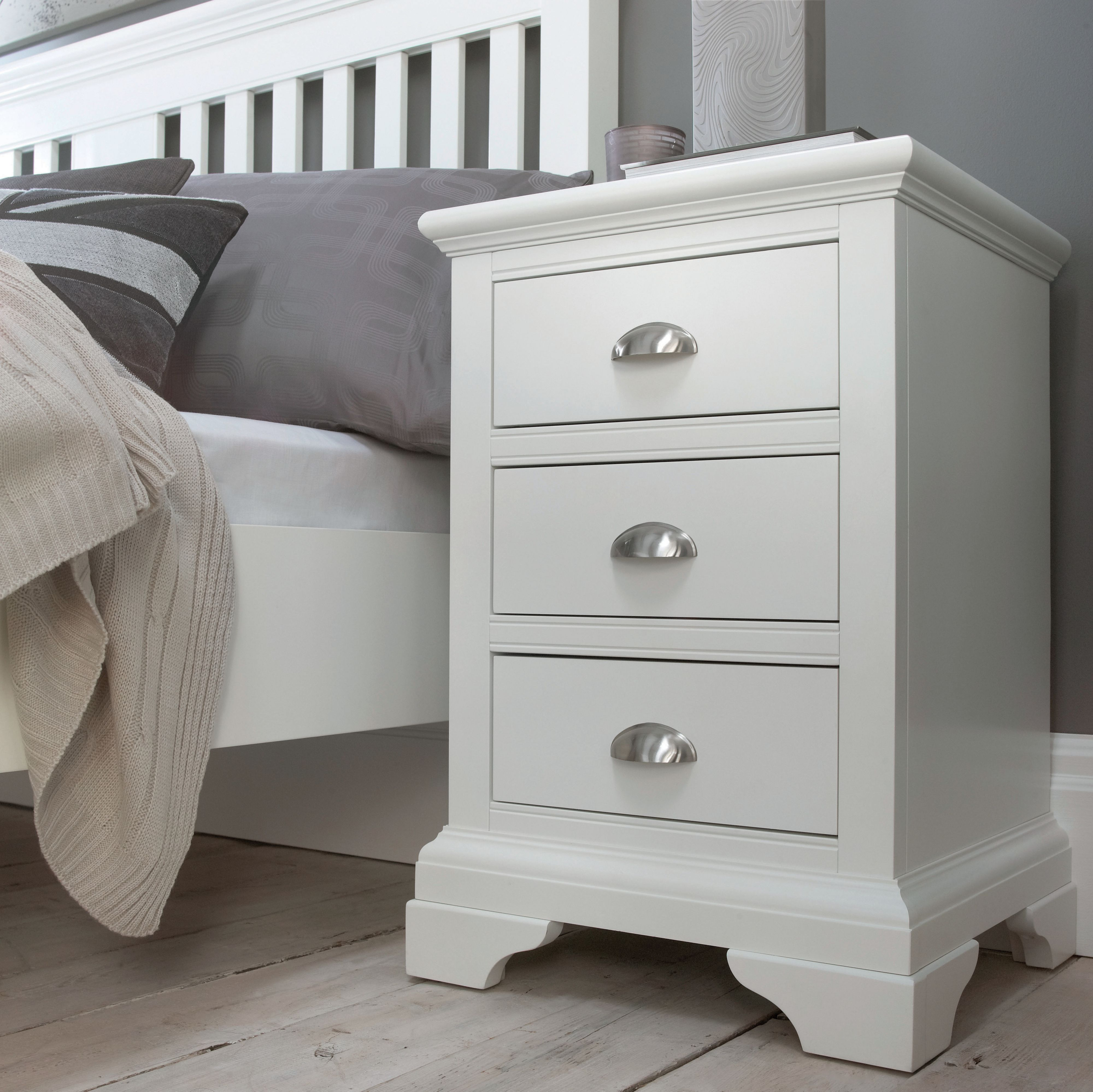 Etienne white 3 drawer bedside chest