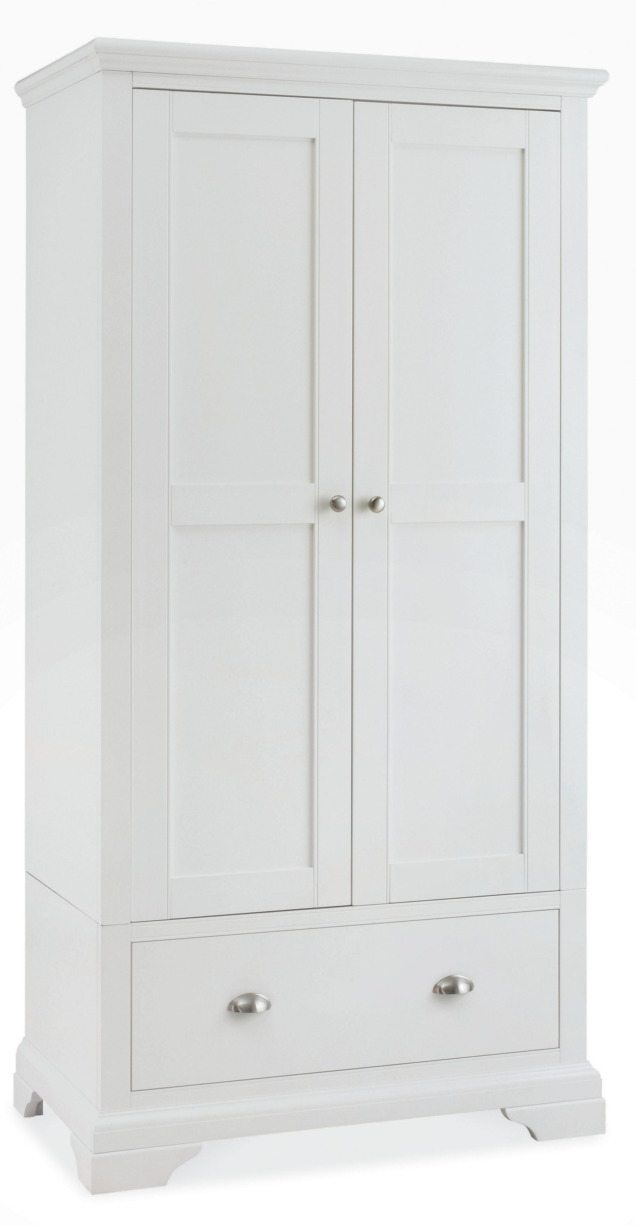 Etienne White Double Wardrobe With Drawer