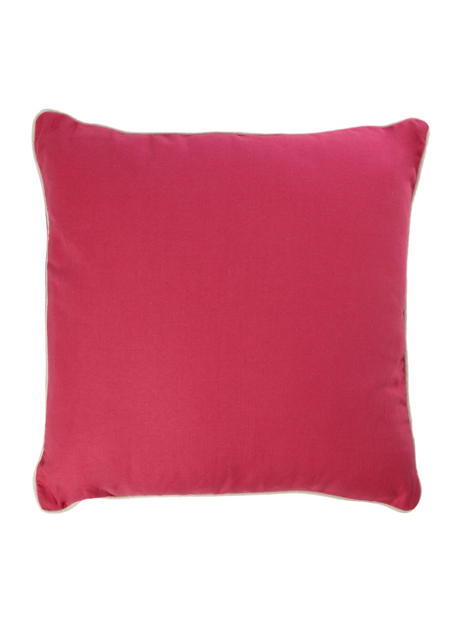 Pink cotton cushion with contrast piping